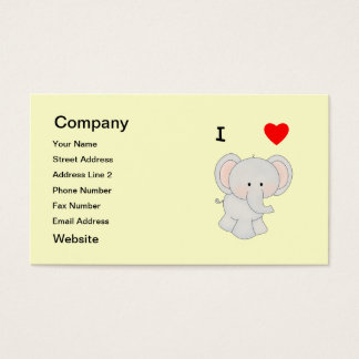 I Love Elephants Business Card