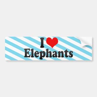 I Love Elephants Car Bumper Sticker