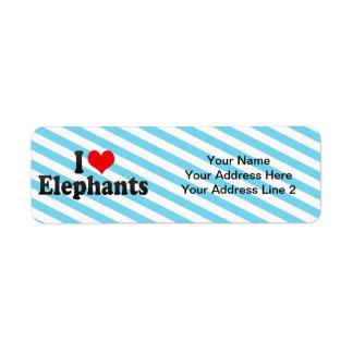 I Love Elephants Custom Return Address Label