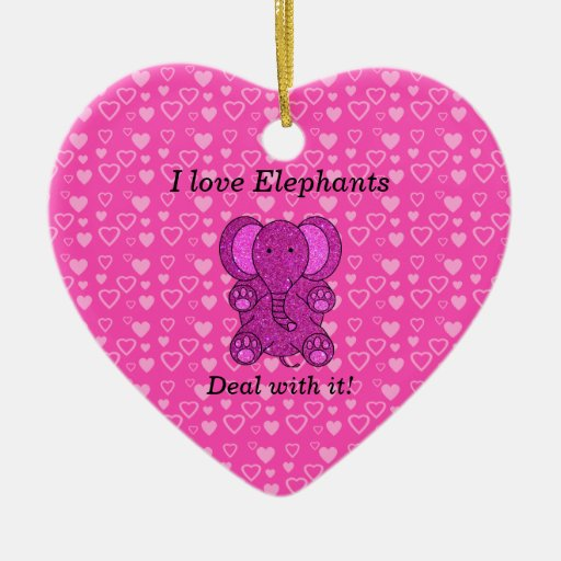 I love elephants deal with it christmas tree ornament