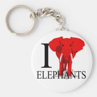 I Love Elephants Keychains