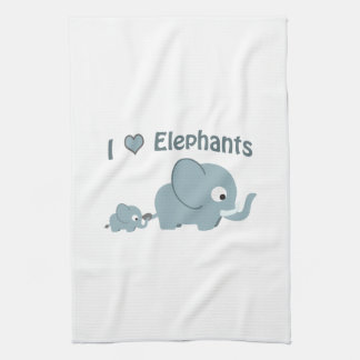 I love elephants. kitchen towel