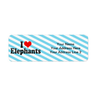 I Love Elephants Label
