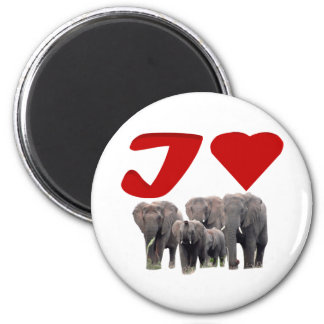 I love elephants 2 inch round magnet
