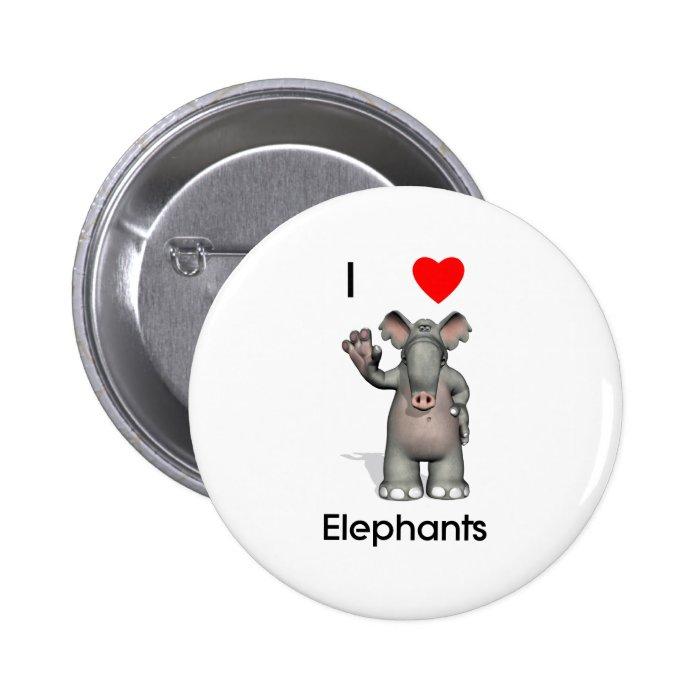I love elephants pinback button