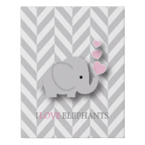 I Love Elephants - Pink Faux Canvas Print