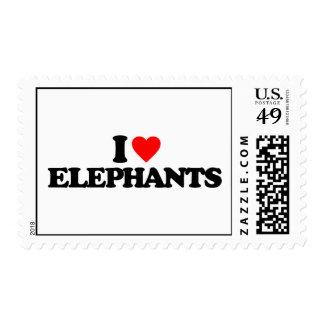 I LOVE ELEPHANTS STAMPS