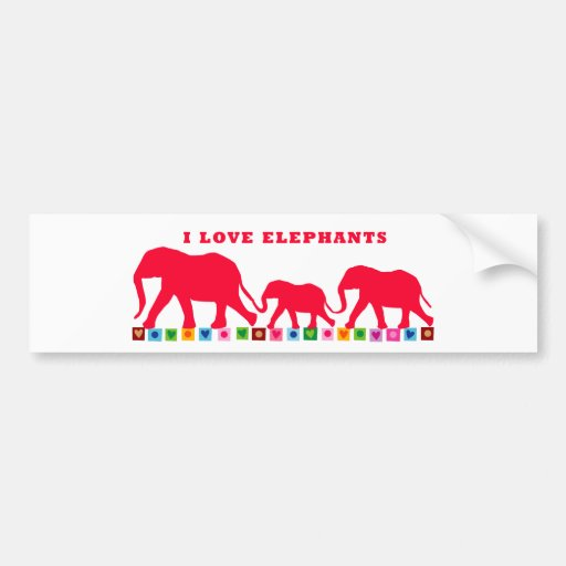 I Love Elephants (Red) Bumper Stickers