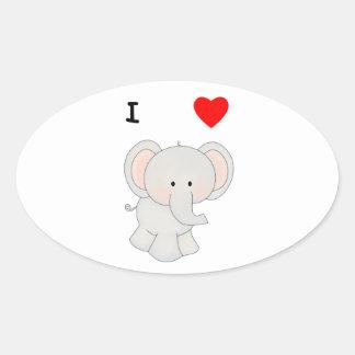 I Love Elephants Oval Sticker