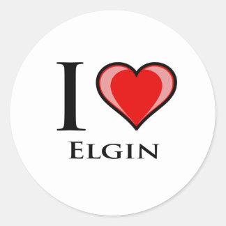 I Love Elgin Round Stickers