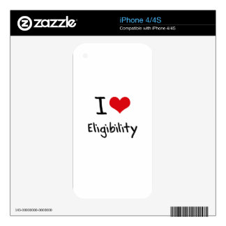 I love Eligibility iPhone 4S Skins