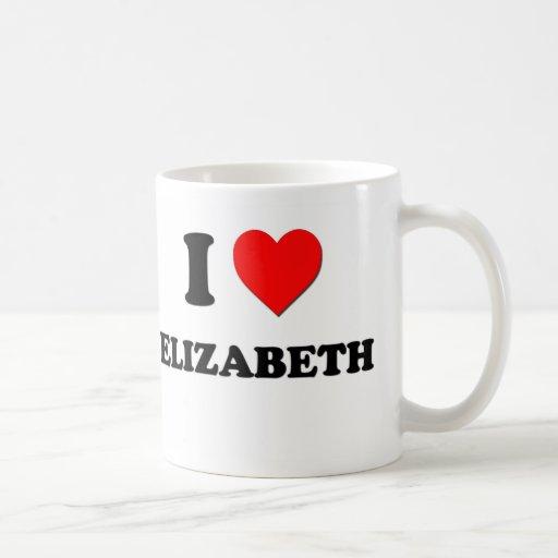 I Love Elizabeth Classic White Coffee Mug