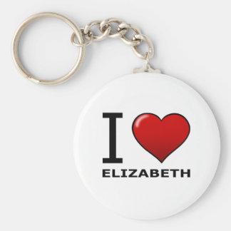 I LOVE ELIZABETH,NJ - NEW JERSEY BASIC ROUND BUTTON KEYCHAIN