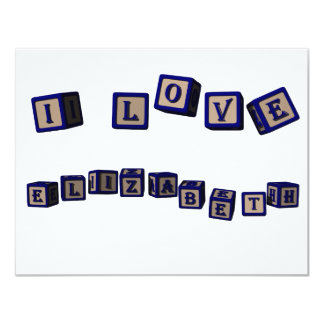 I love Elizabeth toy blocks in blue Card