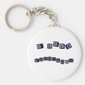 I love Elizabeth toy blocks in blue Basic Round Button Keychain