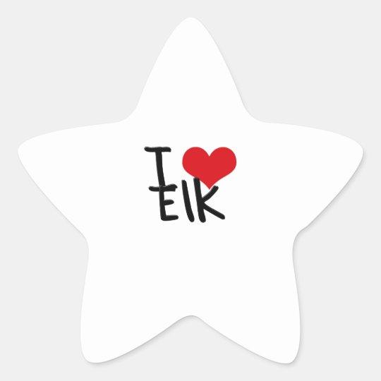 I love Elk Star Sticker