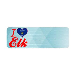 I Love Elk, Wisconsin Return Address Label