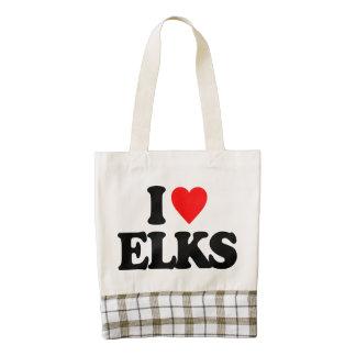 I LOVE ELKS ZAZZLE HEART TOTE BAG
