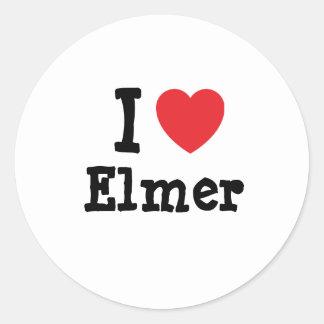 I love Elmer heart custom personalized Classic Round Sticker