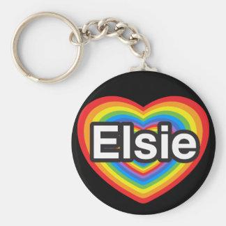 I love Elsie. I love you Elsie. Heart Basic Round Button Keychain
