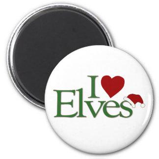 I Love Elves 2 Inch Round Magnet