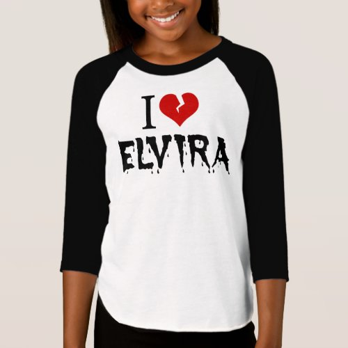I Love Elvira Broken Heart Raglan T-Shirt