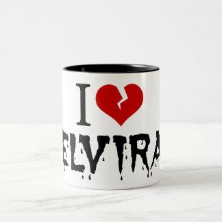 I Love Elvira Broken Heart Two-Tone Coffee Mug