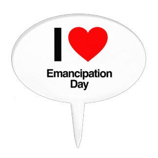 i love emancipation day cake picks