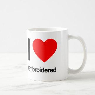 i love embroidered coffee mug