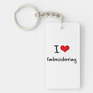 I love Embroidering Rectangle Acrylic Keychain