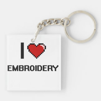 I Love Embroidery Digital Retro Design Double-Sided Square Acrylic Keychain