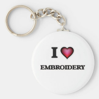 I Love Embroidery Keychain