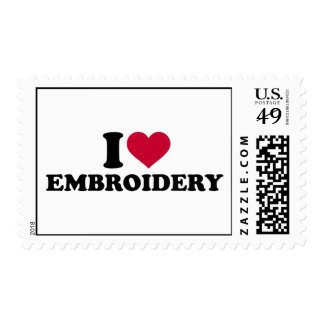 I love Embroidery Postage Stamp