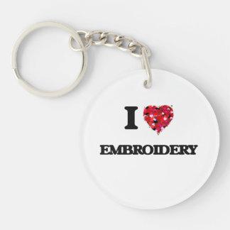 I love EMBROIDERY Single-Sided Round Acrylic Keychain