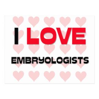 I LOVE EMBRYOLOGISTS POSTCARD