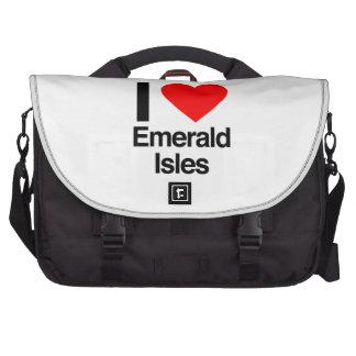 i love emerals isles laptop bag