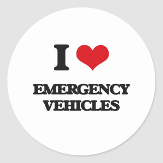I love EMERGENCY VEHICLES Classic Round Sticker