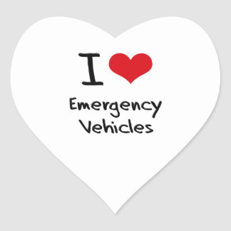 I love Emergency Vehicles Heart Sticker
