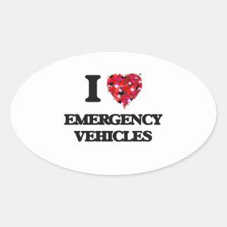 I love EMERGENCY VEHICLES Oval Sticker