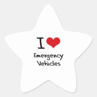 I love Emergency Vehicles Star Sticker