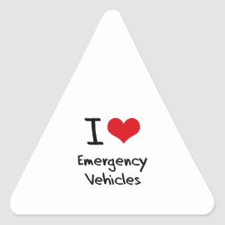 I love Emergency Vehicles Triangle Sticker