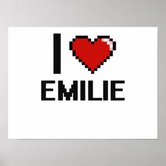I Love Emilie Digital Retro Design Poster