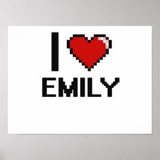 I Love Emily Digital Retro Design Poster