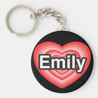 I love Emily. I love you Emily. Heart Basic Round Button Keychain