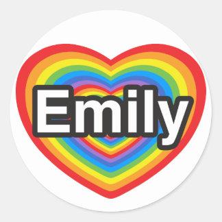 I love Emily. I love you Emily. Heart Round Sticker