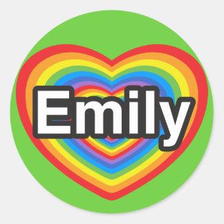 I love Emily. I love you Emily. Heart Round Stickers
