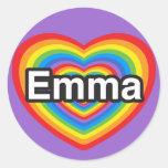 I love Emma. I love you Emma. Heart Classic Round Sticker