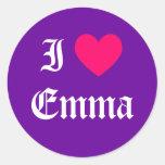 I Love Emma Round Sticker