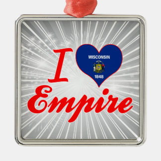 I Love Empire, Wisconsin Square Metal Christmas Ornament