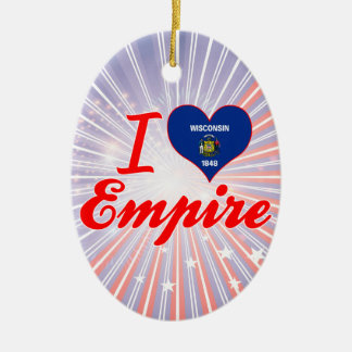 I Love Empire, Wisconsin Double-Sided Oval Ceramic Christmas Ornament